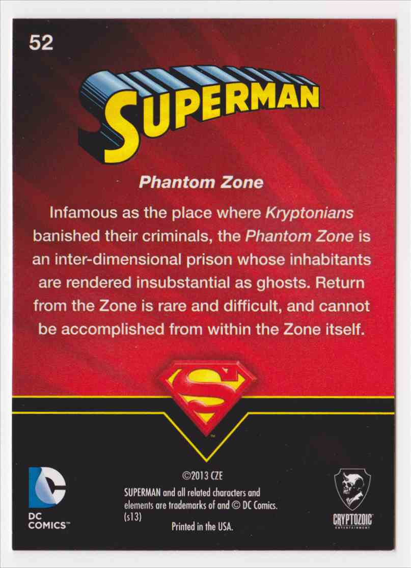 2013 Superman Cryptozoic Superman #52 card back image