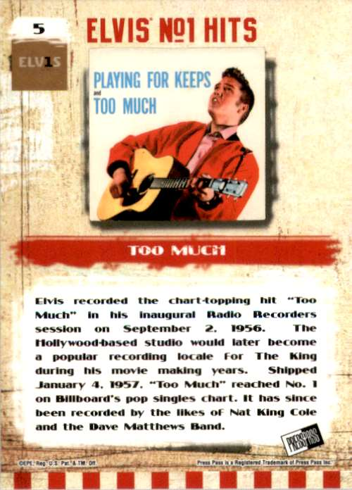 2007 Elvis The Music Too Much #5 card back image