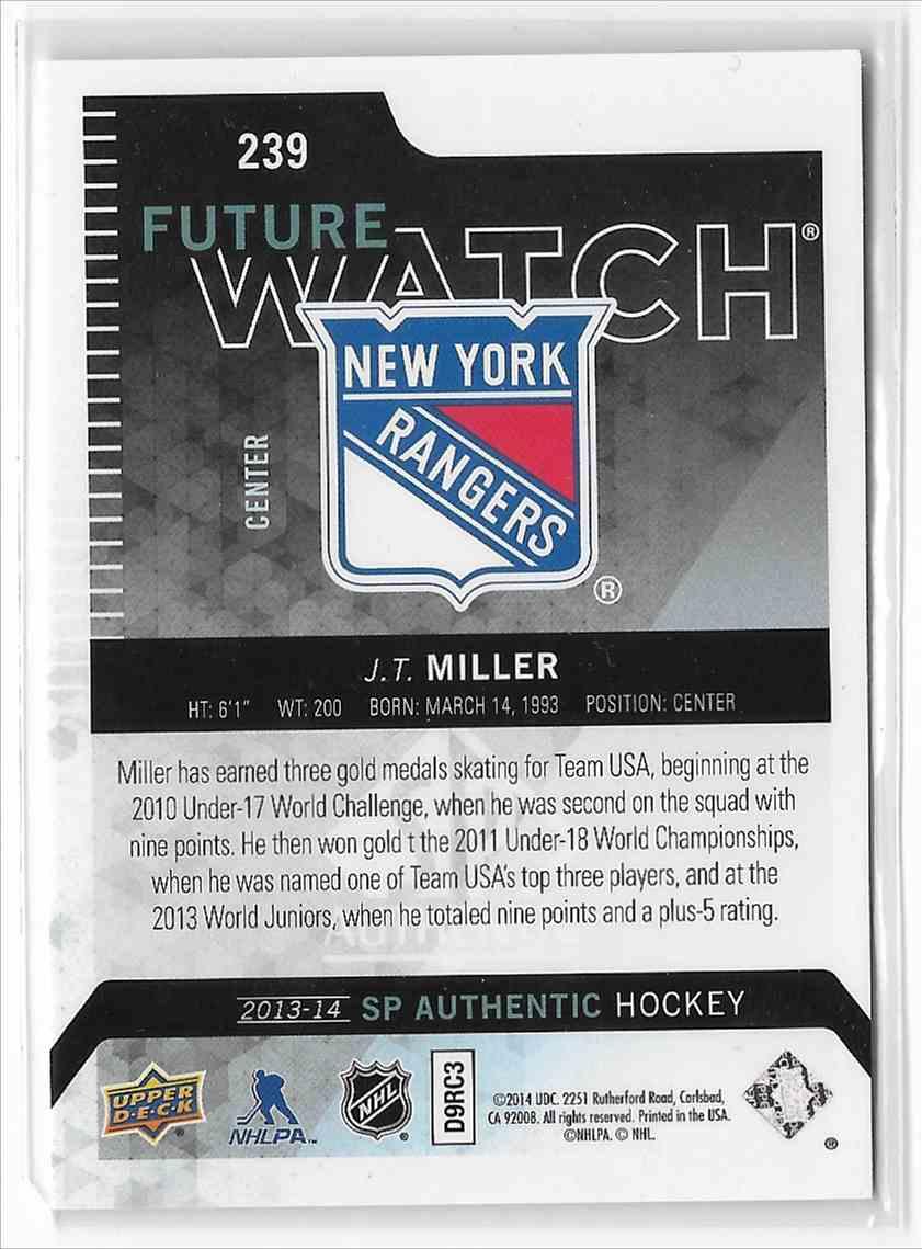 2013-14 SP Authentic J.T. Miller #239 card back image