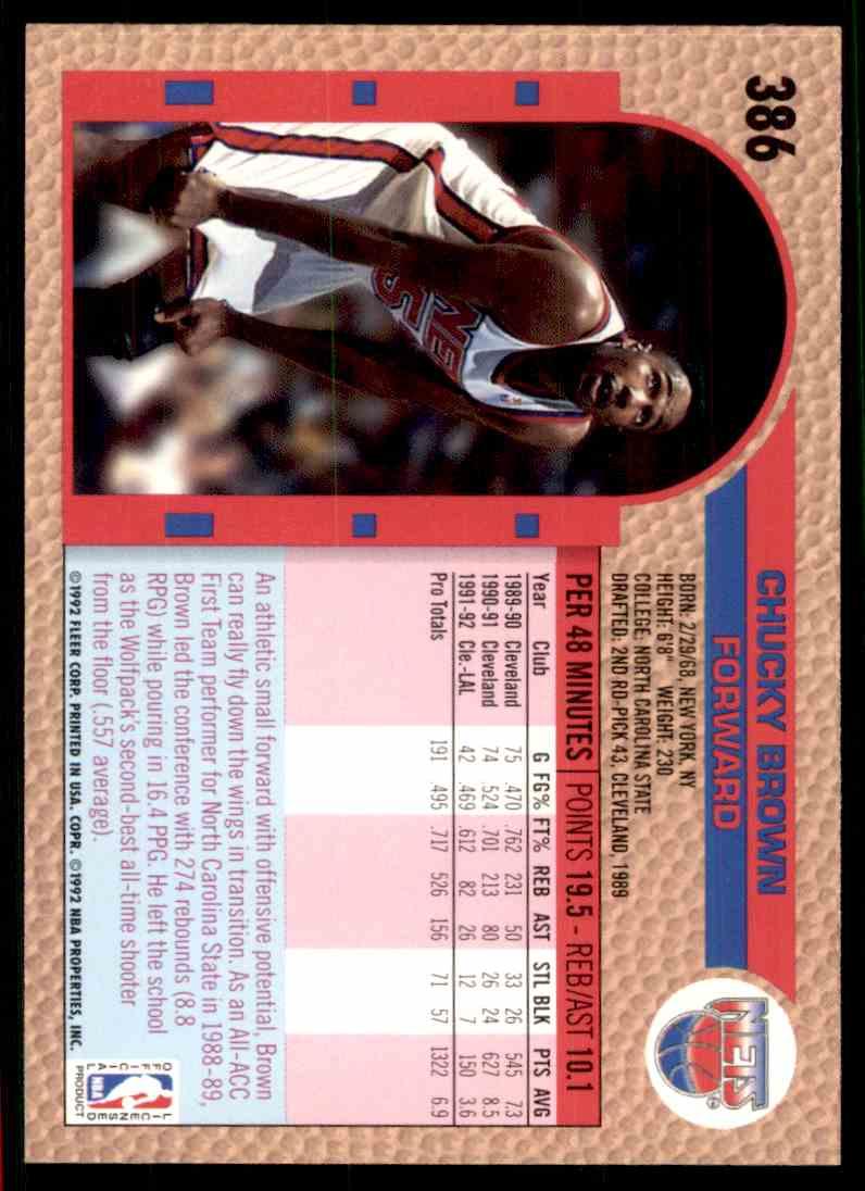 1992-93 Fleer Chucky Brown #386 card back image