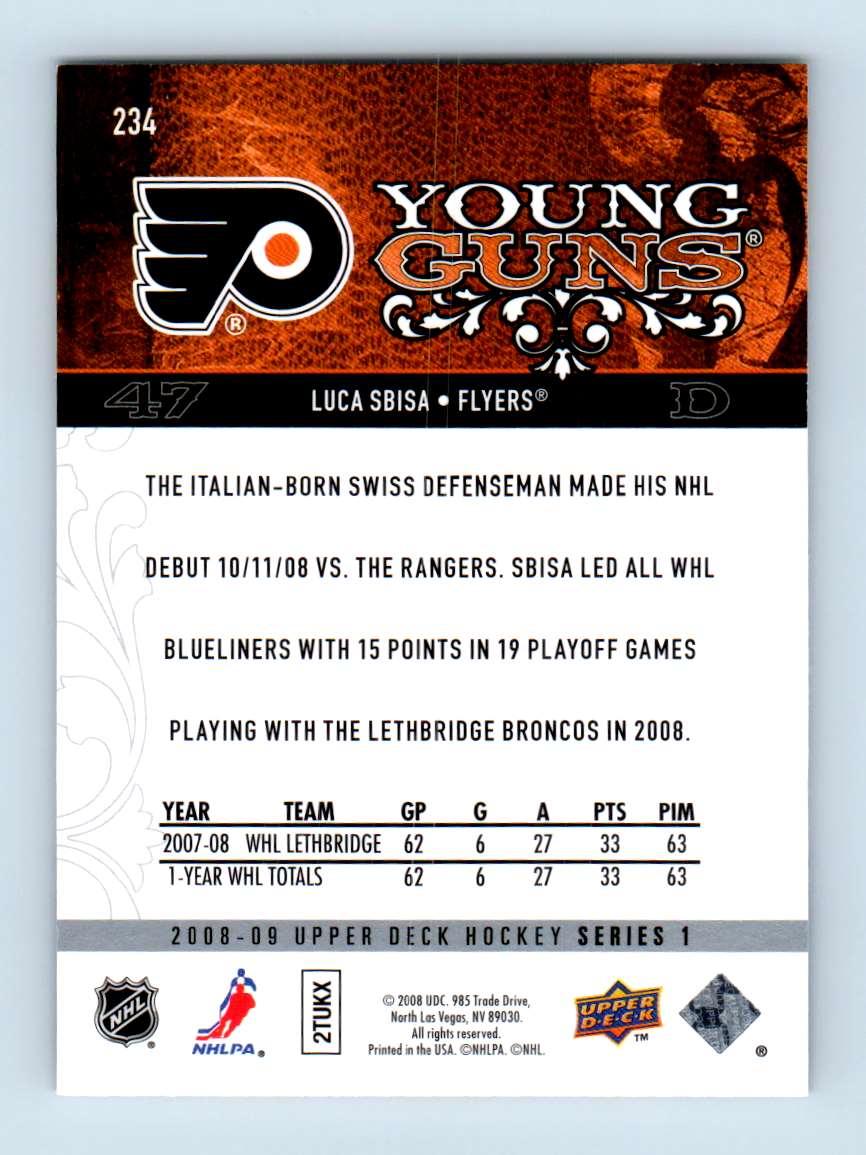 2008-09 Upper Deck Young Guns Luca Sbisa #234 card back image
