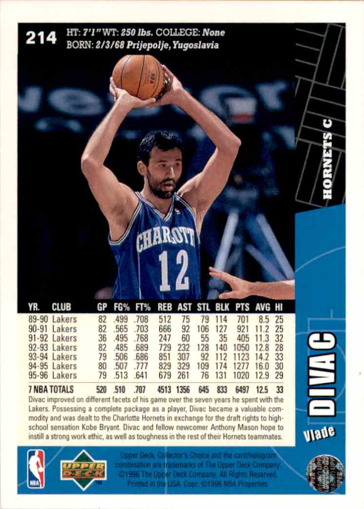 1996-97 Collector's Choice Vlade Divac #214 card back image