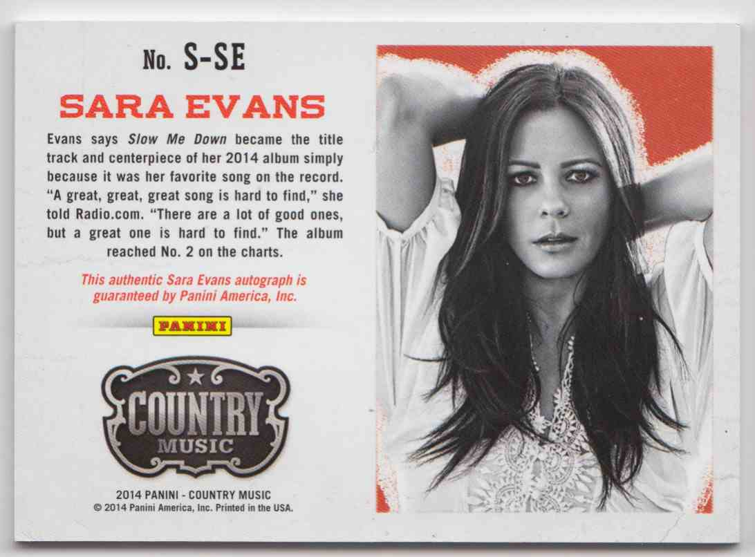 2014 Panini Country Music Red Sara Evans #S-SE card back image