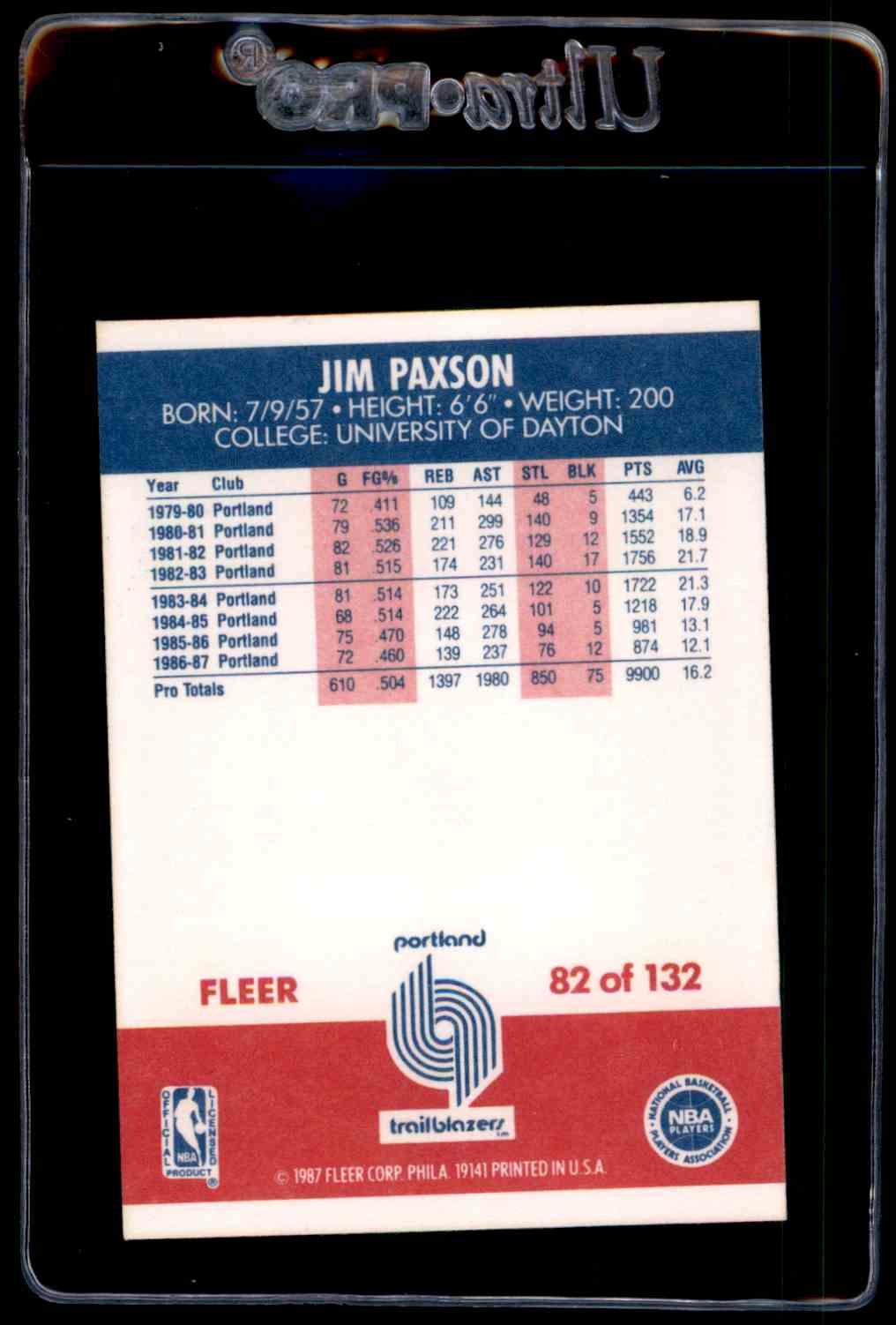 1987 88 Fleer Nm Jim Paxson 82 on Kronozio