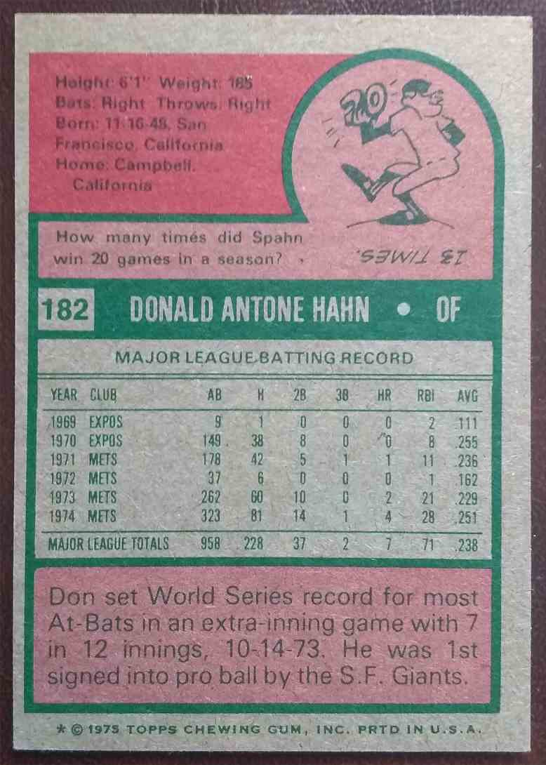 1975 Topps Bowman Chrome Minis Don Hahn #182 card back image