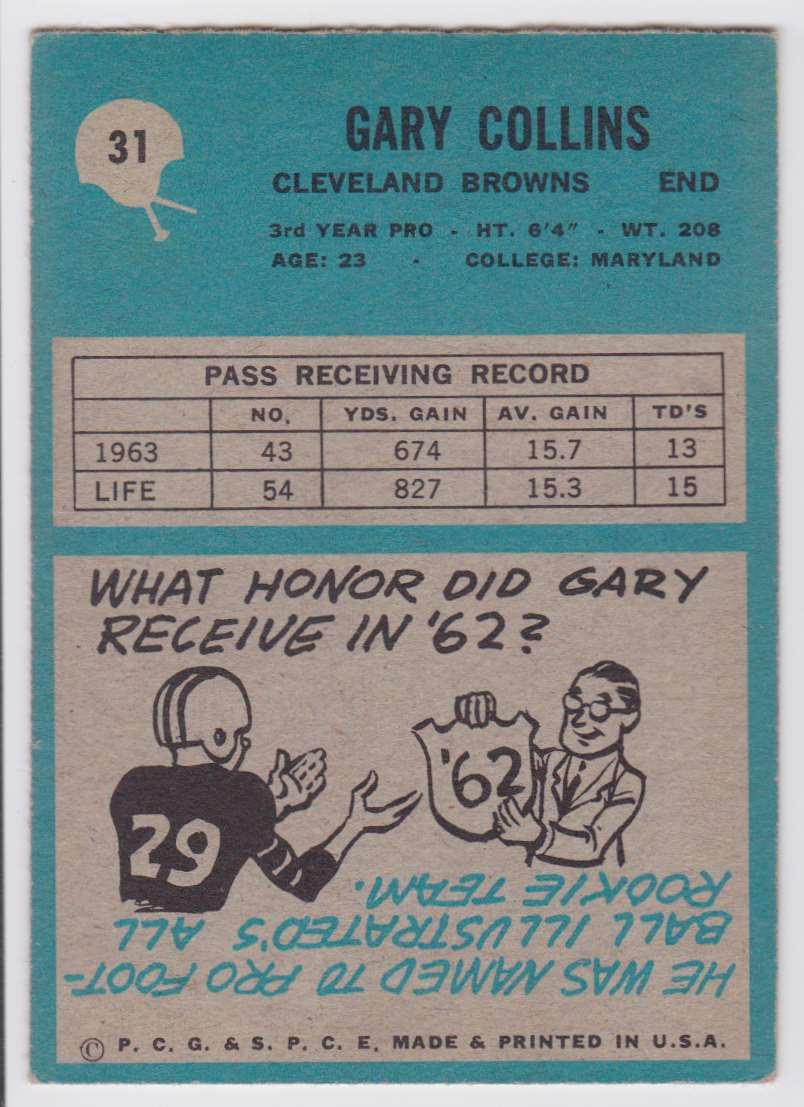 1964 Philadelphia Gary Collins #31 card back image