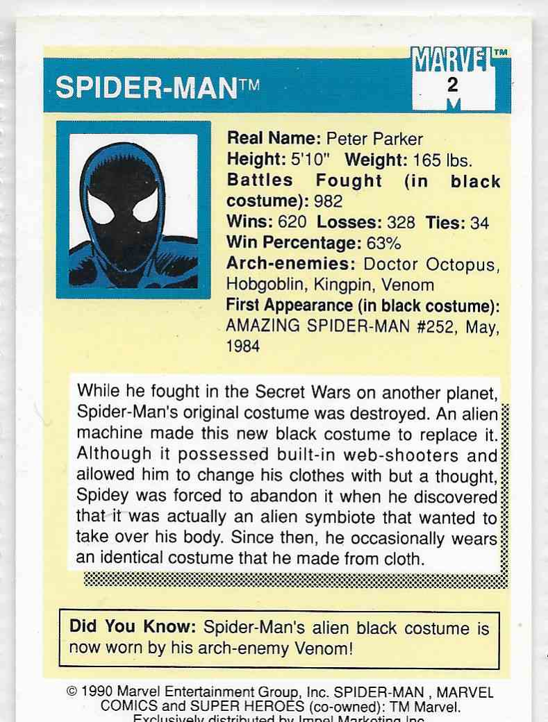 1990 Impel Marvel Spider-Man #2 card back image