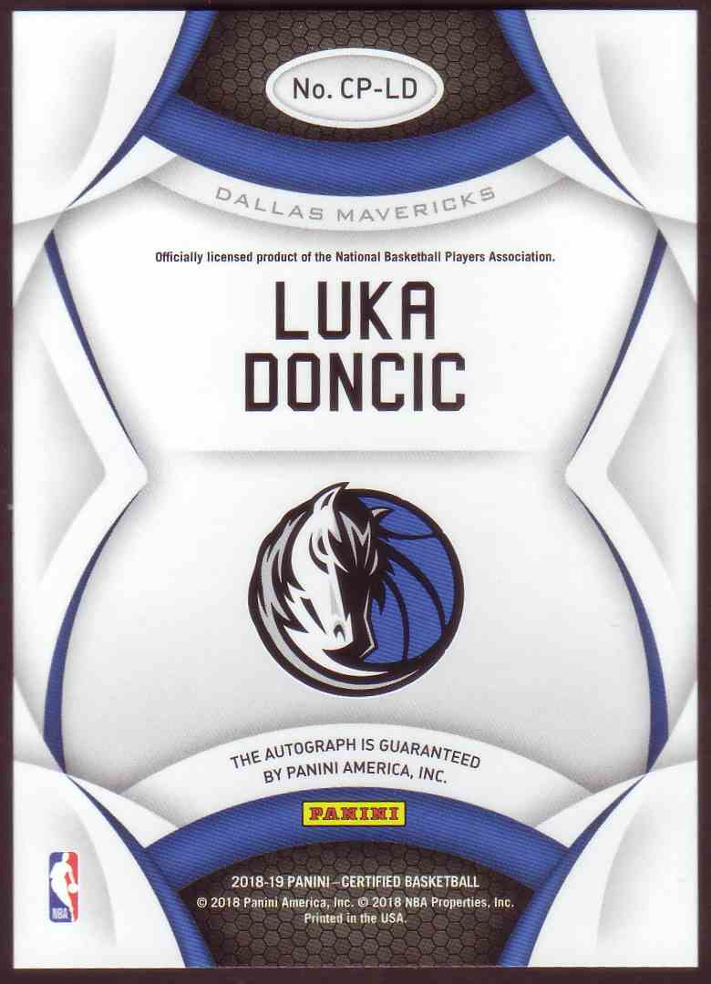 2018-19 Panini Certified Certified Potential Autograph Luka Doncic #CP-LD card back image