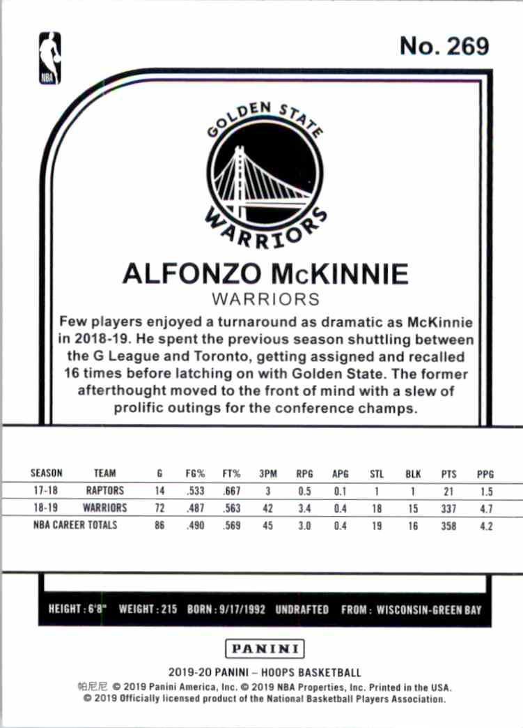 2019-20 Hoops Alfonzo McKinnie #269 card back image