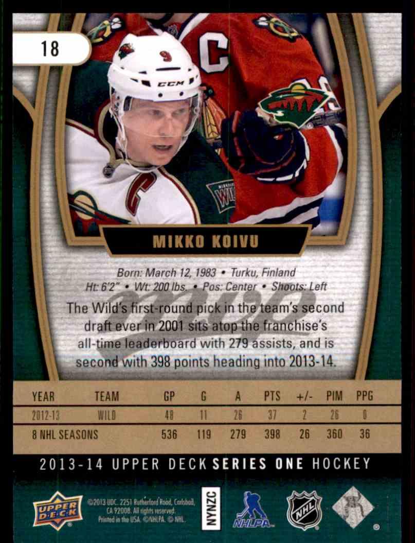 2013-14 MVP Super Script Mikko Koivu #18 card back image