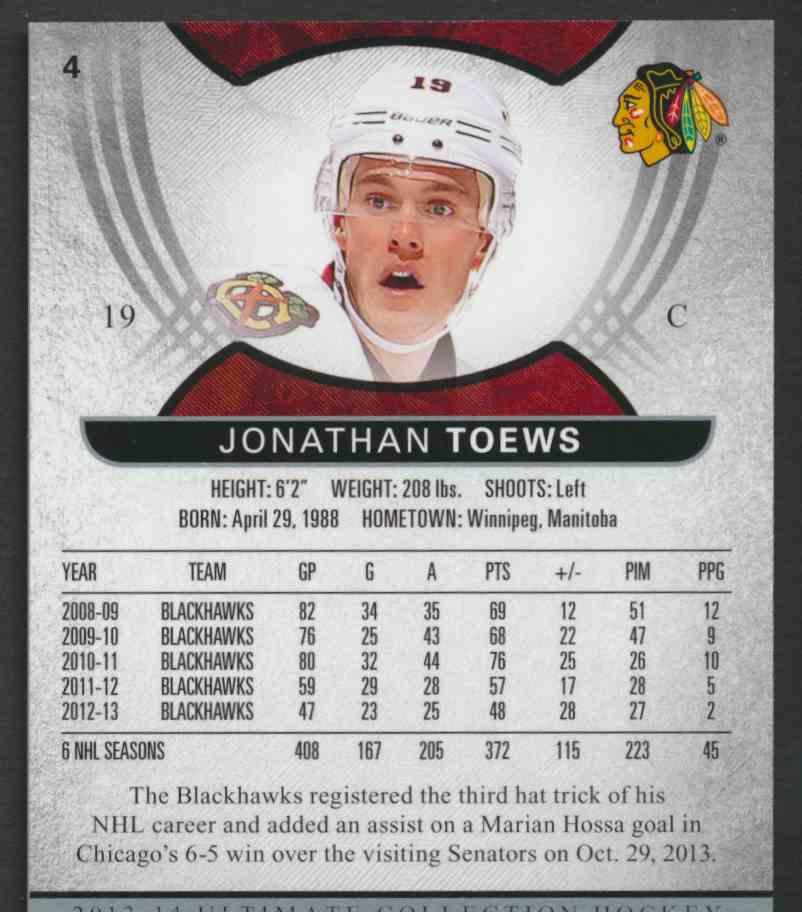 2013-14 Ultimate Collection Jonathan Toews #4 card back image