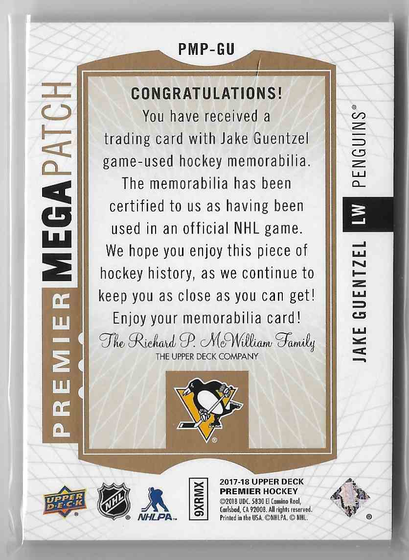2017-18 Upper Deck Premier Jake Guentzel #PMP-GU card back image