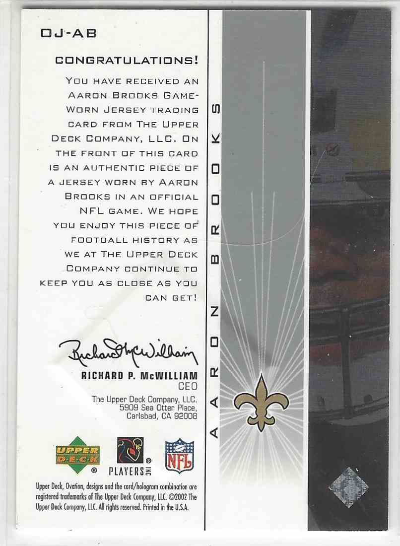 2002 Upper Deck Ovation Ovation Jerseys Aaron Brooks #OJ-AB card back image