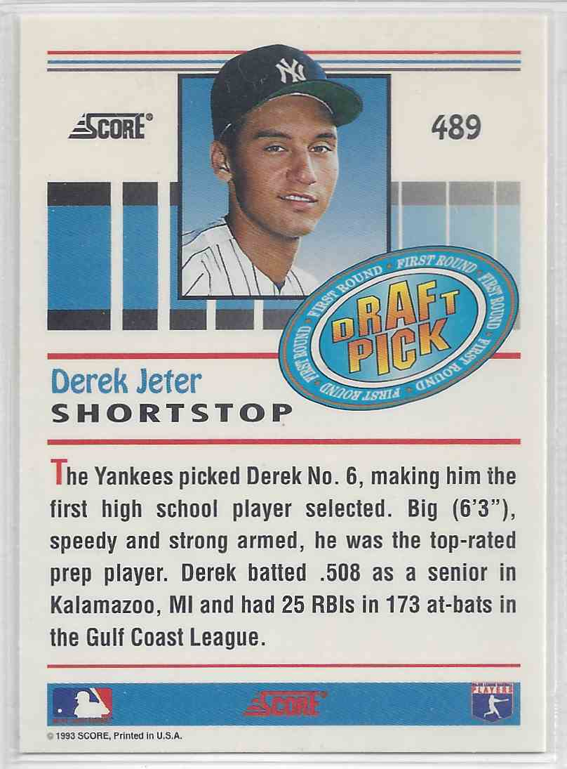 1993 Score Draft Pick Derek Jeter #489 card back image