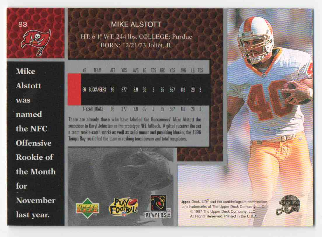 1997 Upper Deck Ud3 Mike Alstott #83 card back image