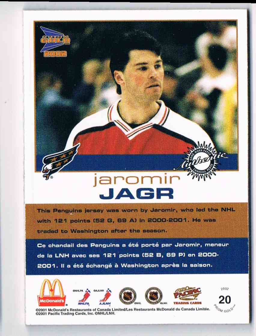 2001-02 Pacific McDonald's Jersey Patches Silver Jaromir Jagr #20 card back image