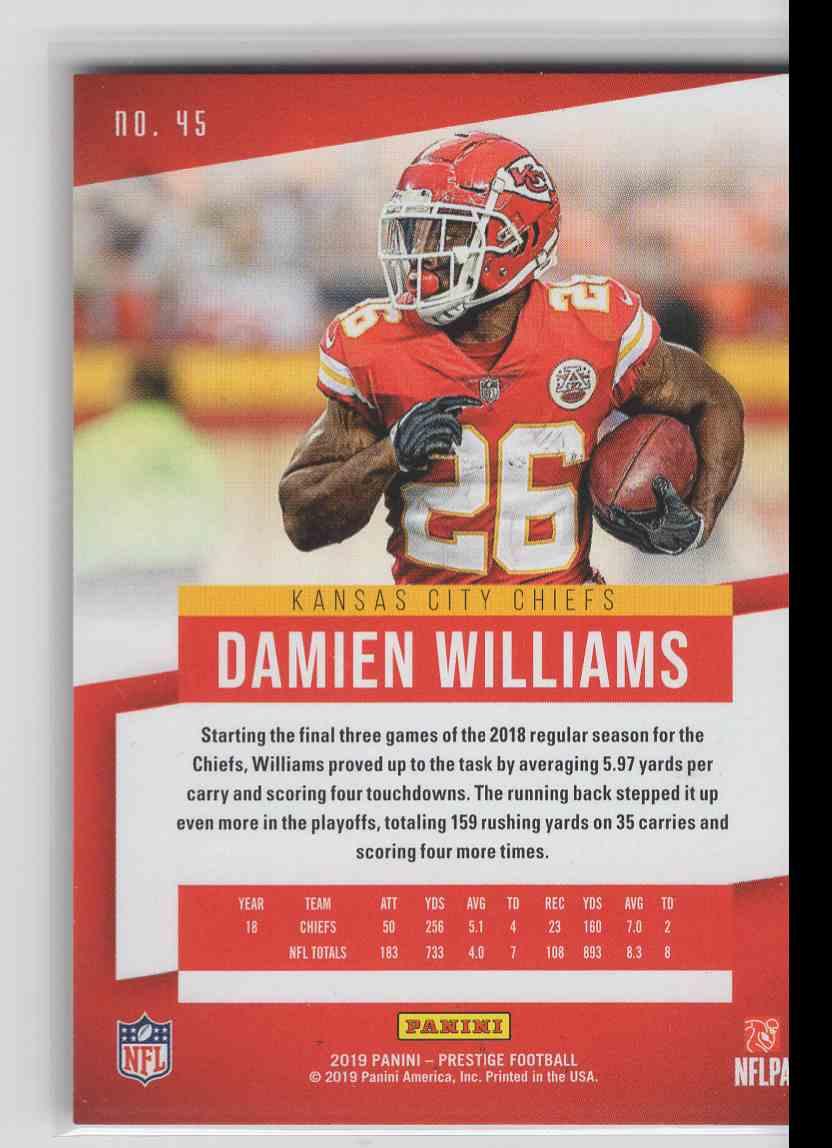 2019 Panini Prestige Xtra Points Damien WIlliams #45 card back image