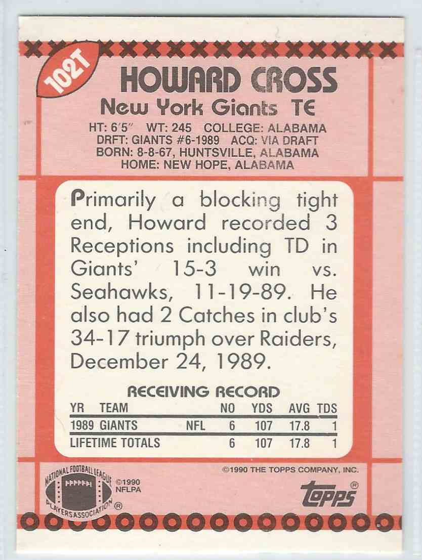 1990 Topps Traded Howard Cross #102T card back image