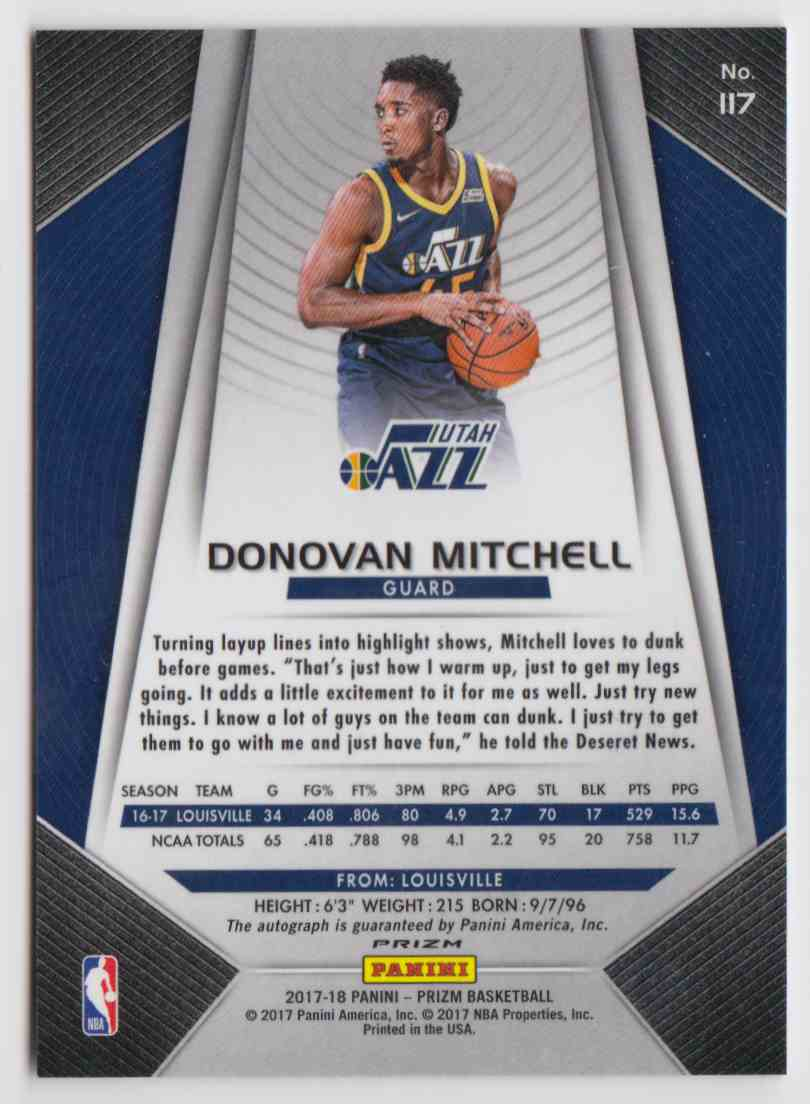 2017-18 Panini Prizm Fast Break Donovan Mitchell #117 card back image