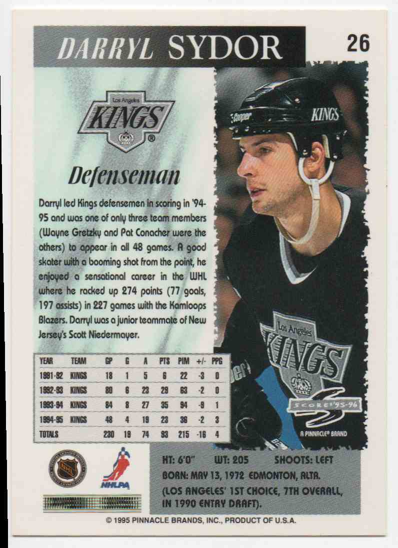 1995-96 Score Darryl Sydor #26 card back image