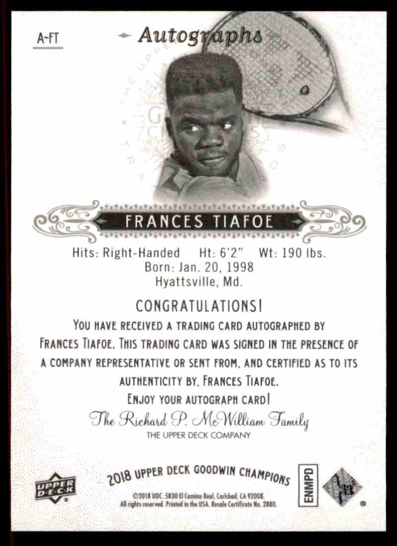2018 UD GOODWIn Champions Autographs Frances Tiafoe #A-FT card back image