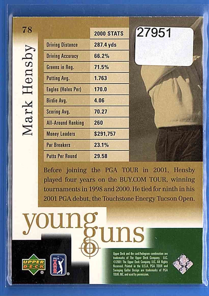 2001 Upper Deck Mark Hensby Yg RC #78 card back image