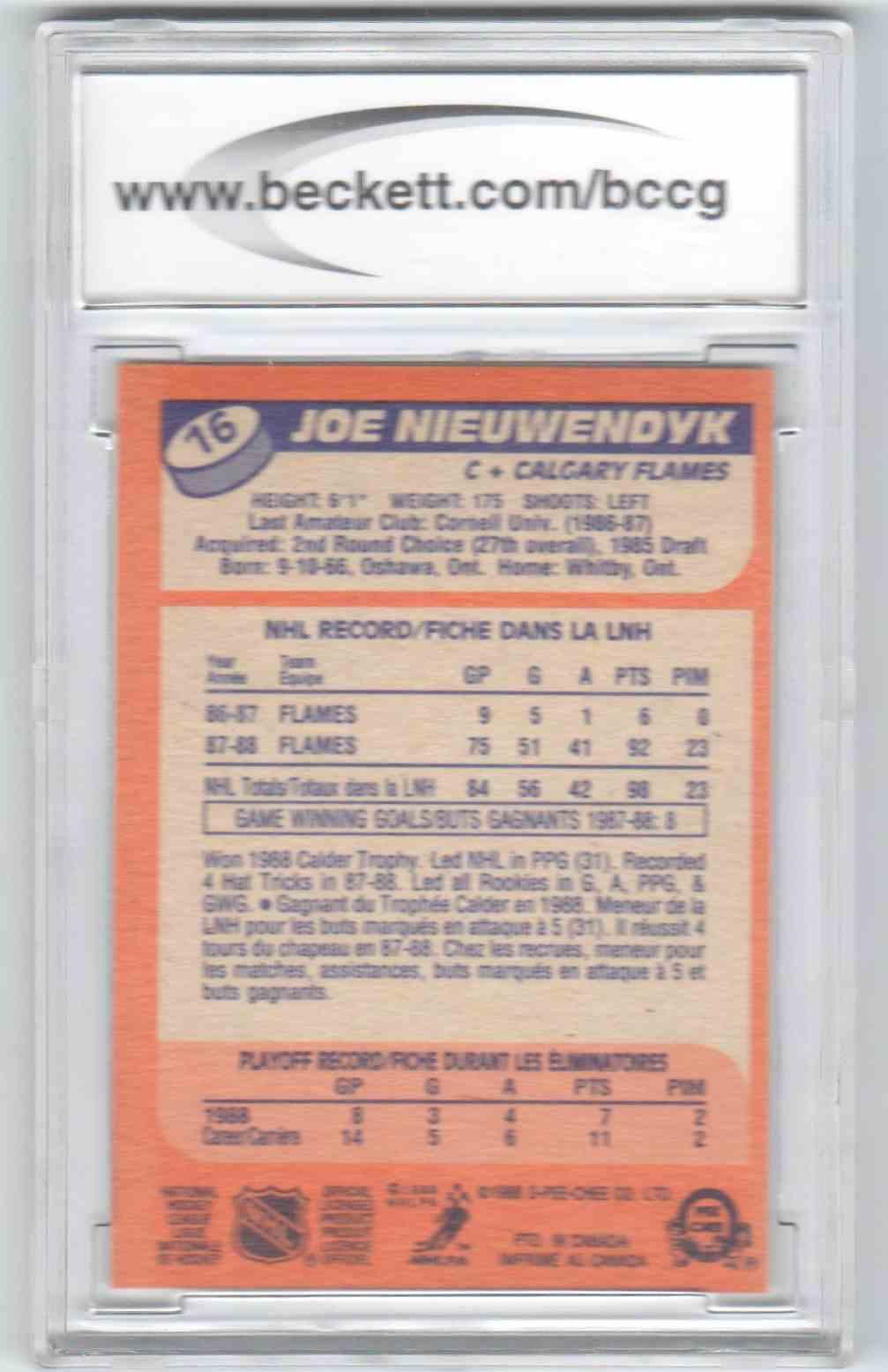 1988-89 O-Pee-Chee Joe Nieuwendyk #16 card back image