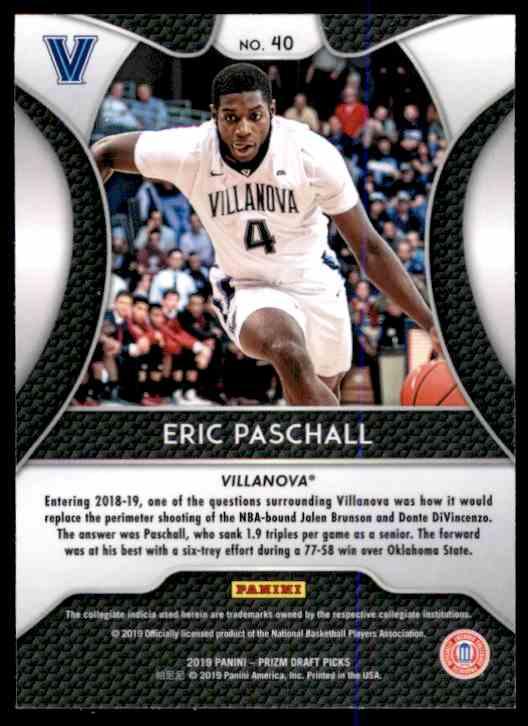 2019-20 Panini Prizm Draft Picks Eric Paschall #40 card back image
