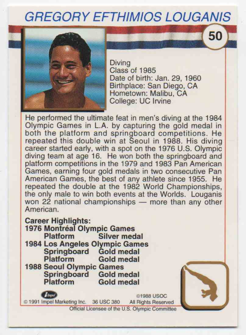 1991 Impel U.S. Olympic Hall Of Fame Greg Louganis #50 card back image