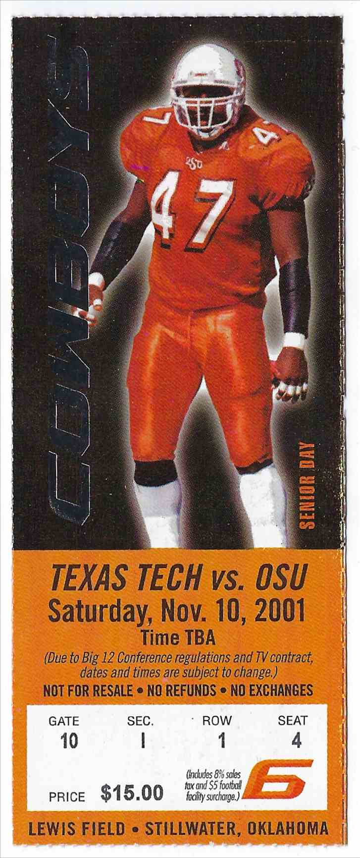 2001 College Football Ticket Stub Texas Tech Vs Oklahoma State card front image