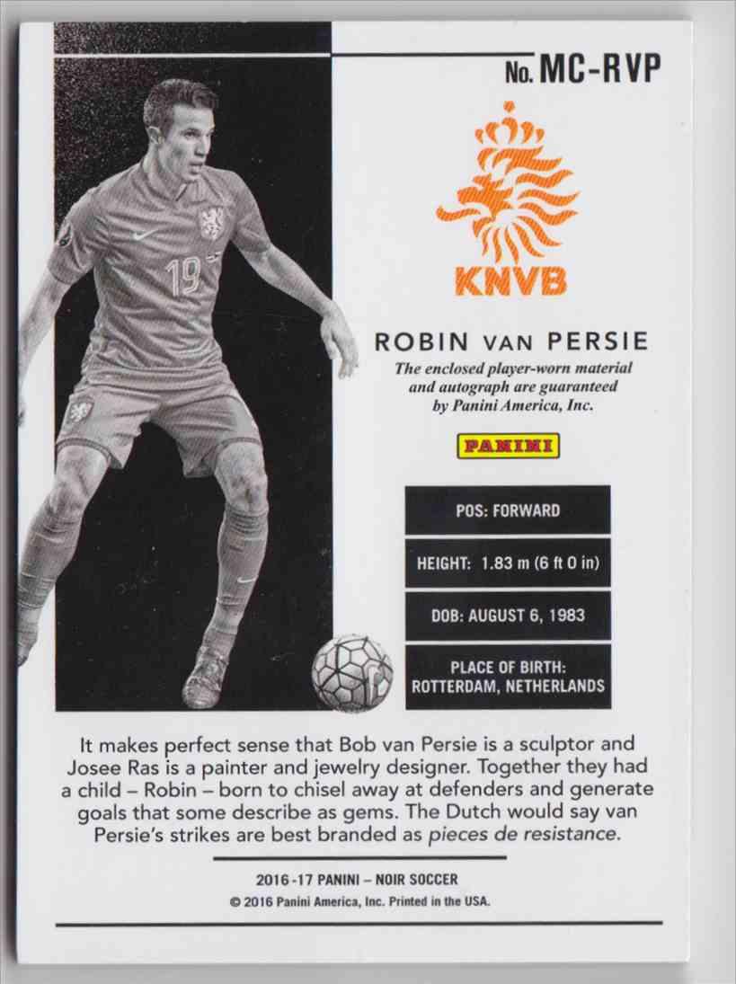 2016 Panini Noir Acetate Color Prime Robin Van Persie #MC-RVP card back image