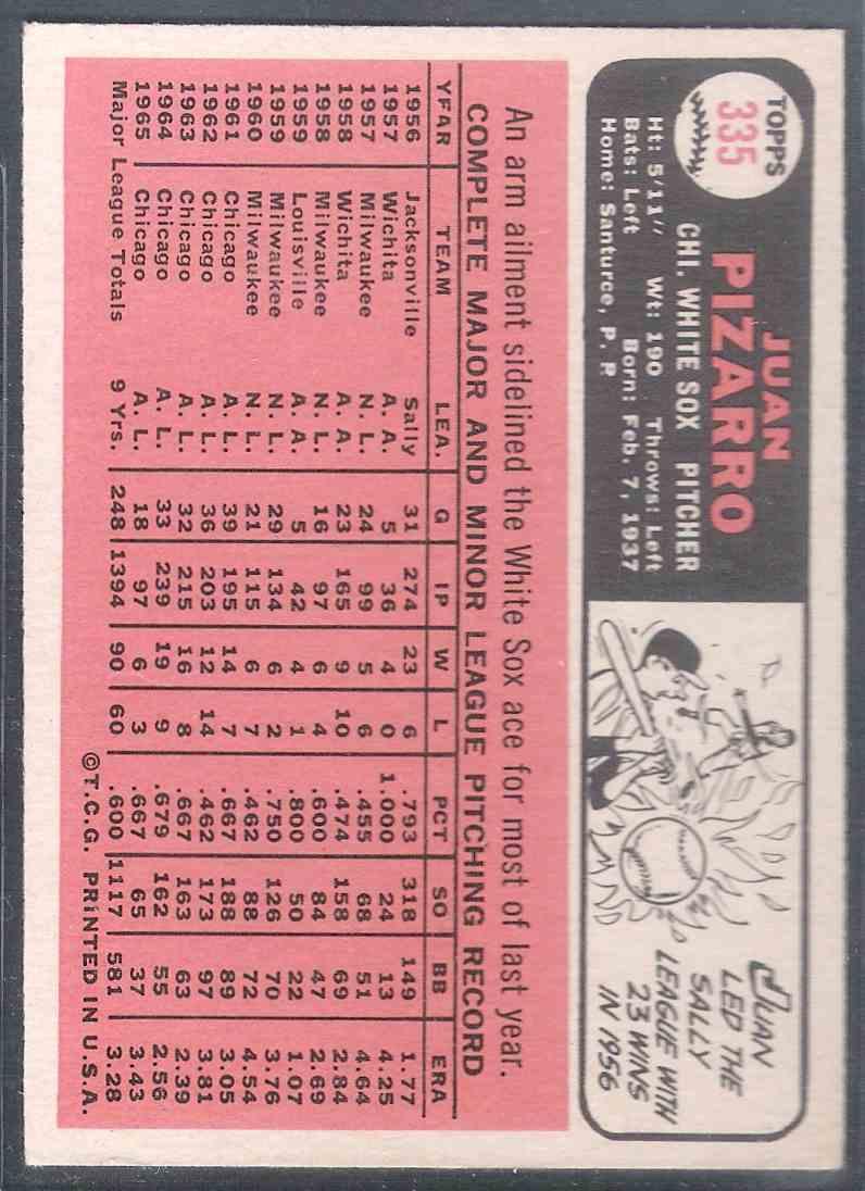 1966 Topps Juan Pizarro #335 card back image