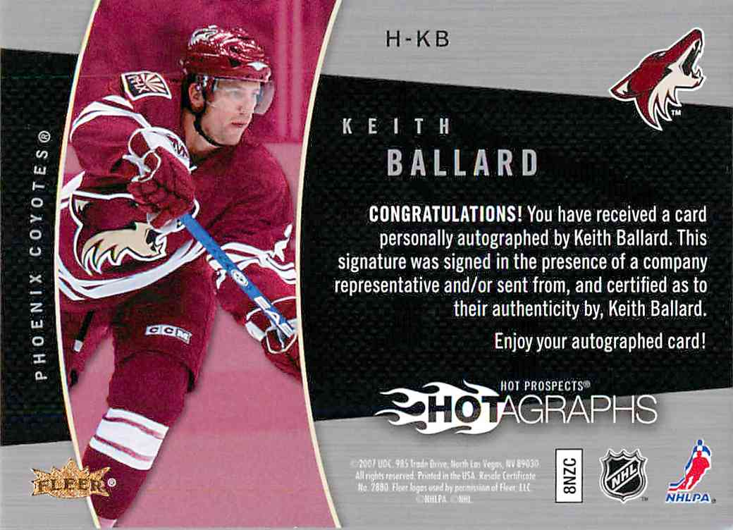 2007-08 Upper Deck Fleer Keith Ballard #H-KB card back image