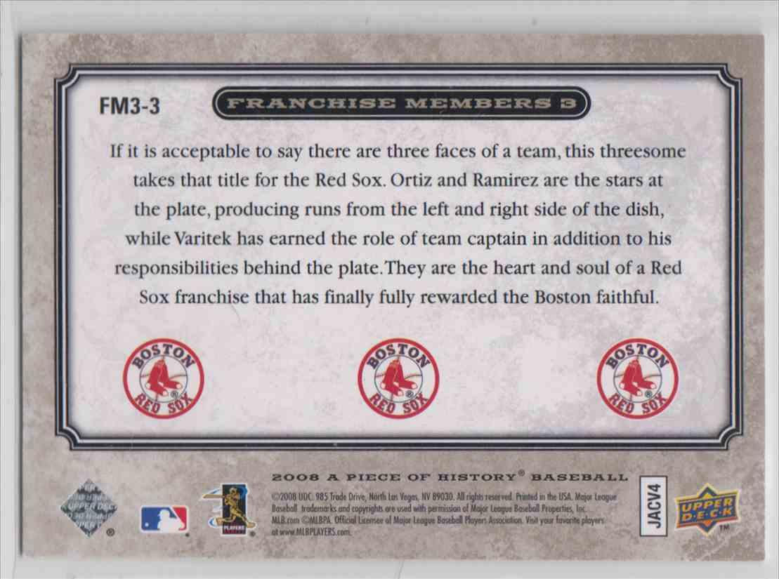 2008 Upper Deck A Piece Of History Franchise Members Triple Pewter David Ortiz / Manny Ramirez / Jason Varitek #FM3-3 card back image