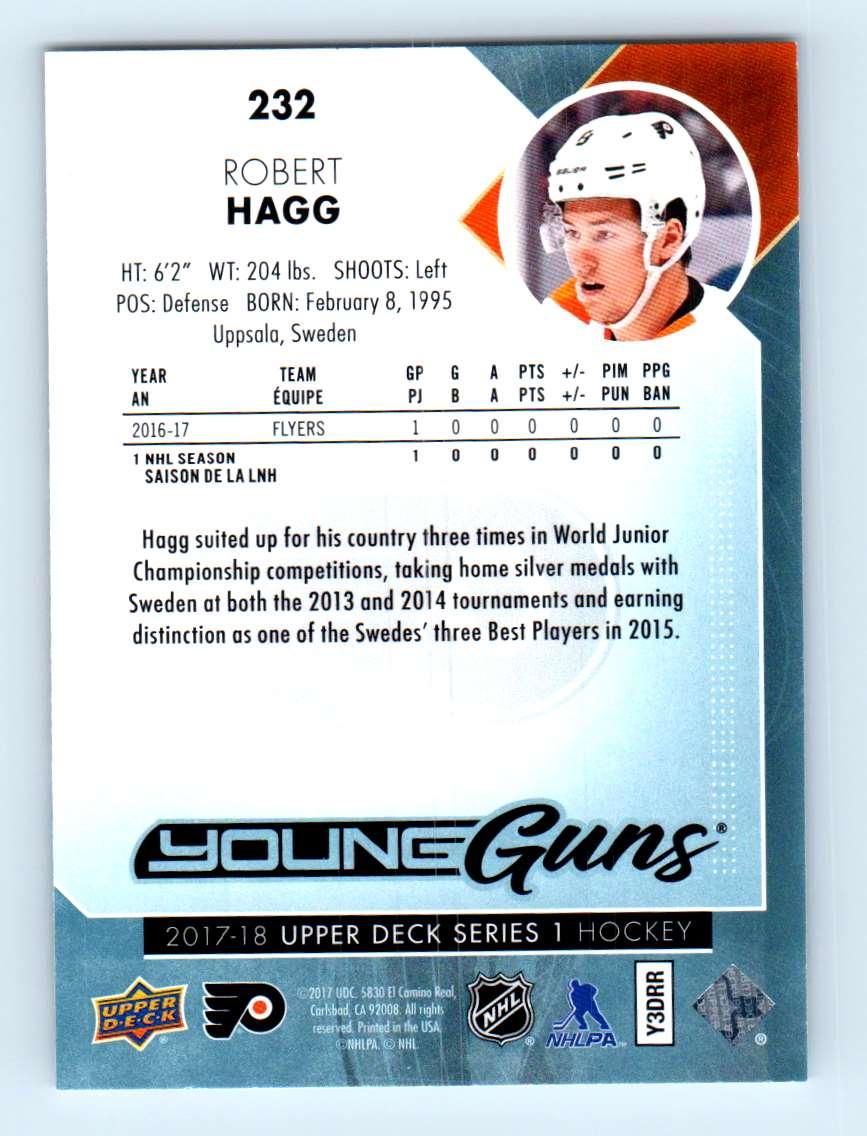 2017-18 Upper Deck Young Guns Robert Hagg #232 card back image