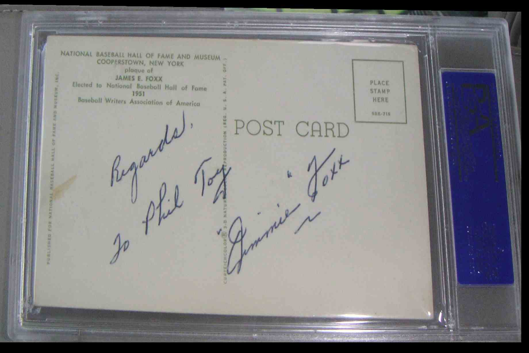 1964 Gold Hall Of Fame Plaque Jimmie Foxx #X card back image