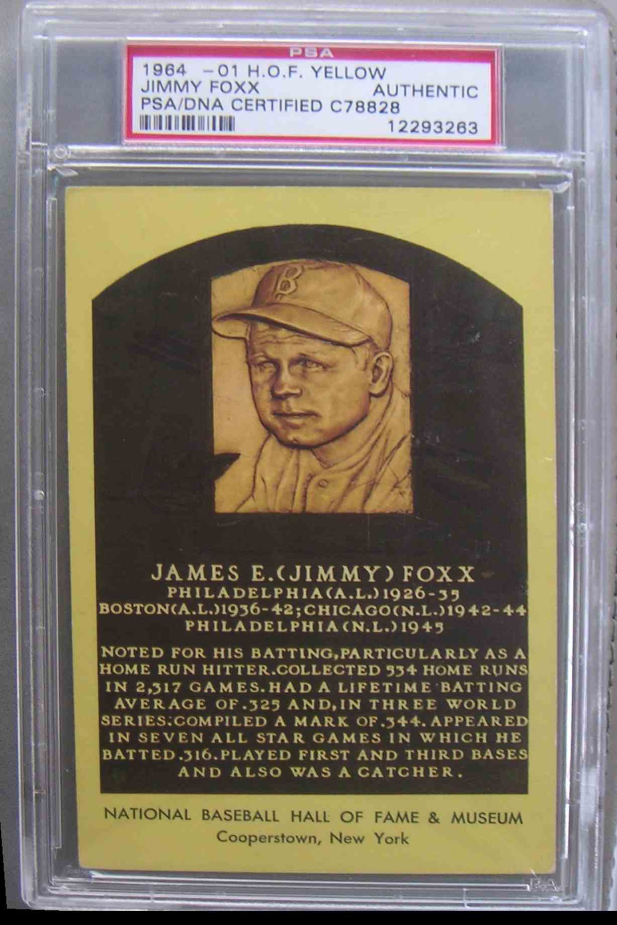 1964 Gold Hall Of Fame Plaque Jimmie Foxx #X card front image