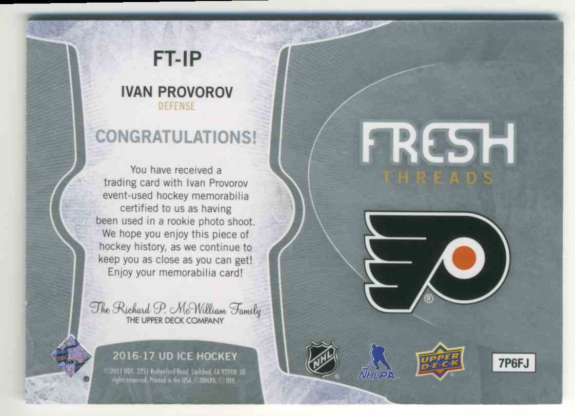 2016-17 Upper Deck Ice Fresh Threads Ivan Provorov #FT-IP card back image