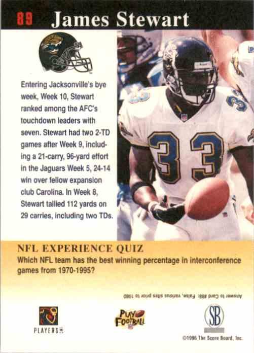 1997 Score Board NFL Experience James O.Stewart #89 card back image