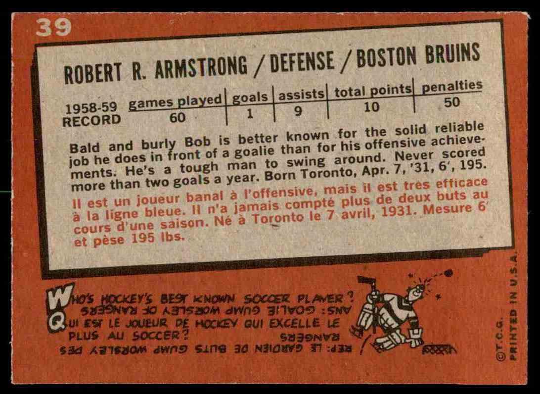 1959-60 Topps Bob Armstrong (B) #39 card back image