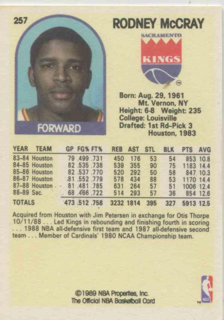 1989 90 NBA Hoops Rodney McCray 257 on Kronozio