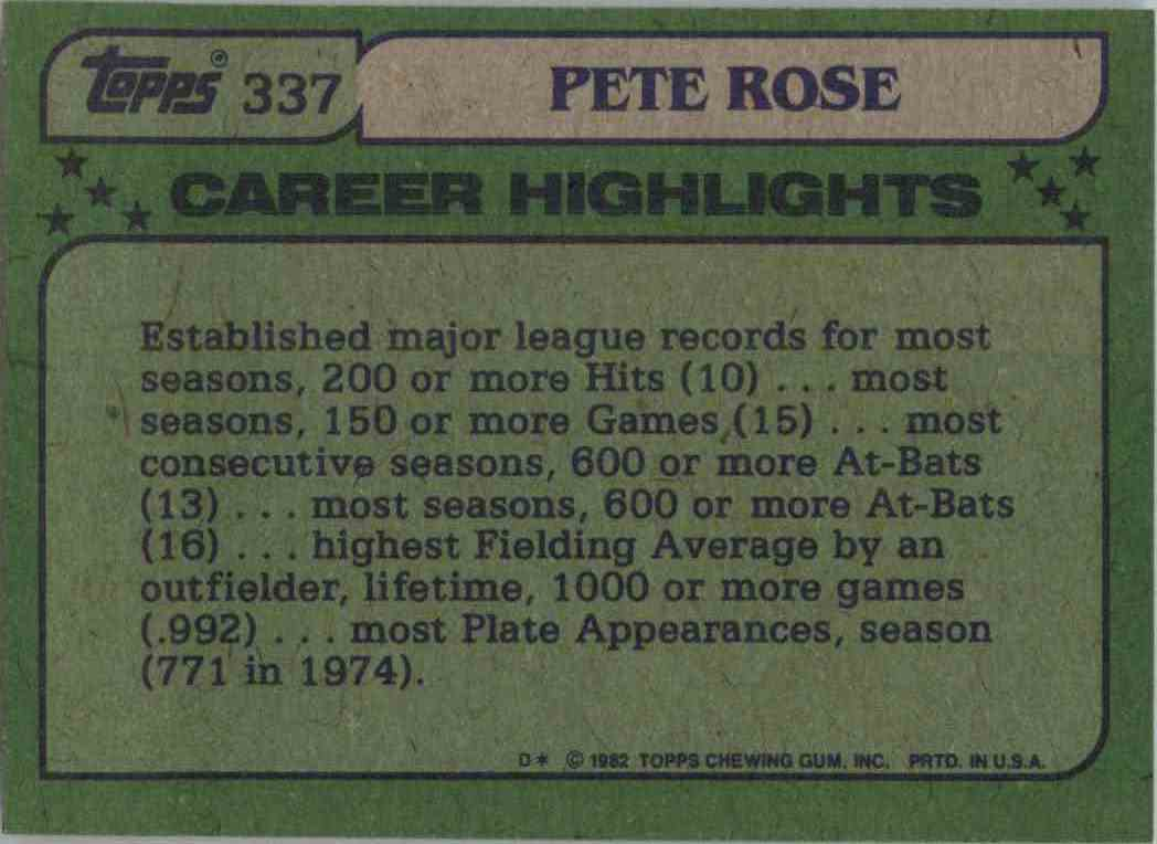 1982 Topps Pete Rose #337 card back image