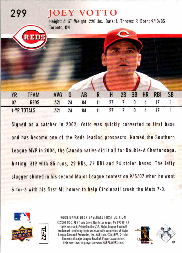 2008 Upper Deck First Edition Joey Votto #299 card back image