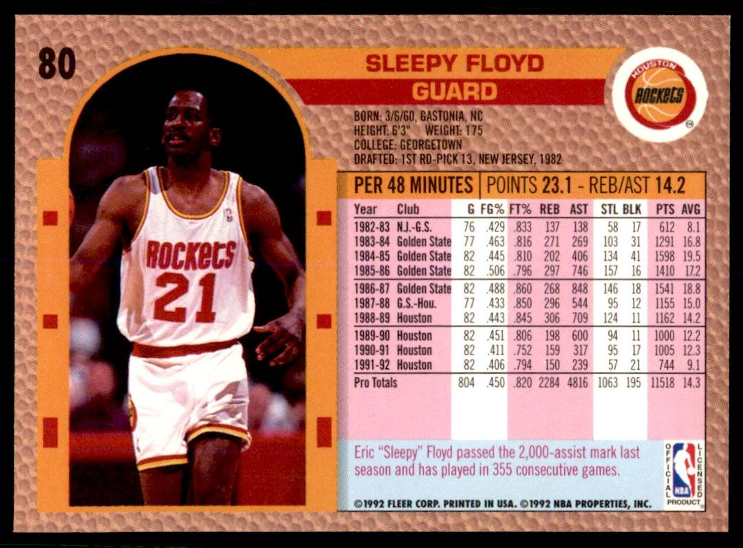1992 93 Fleer Sleepy Floyd 80 on Kronozio