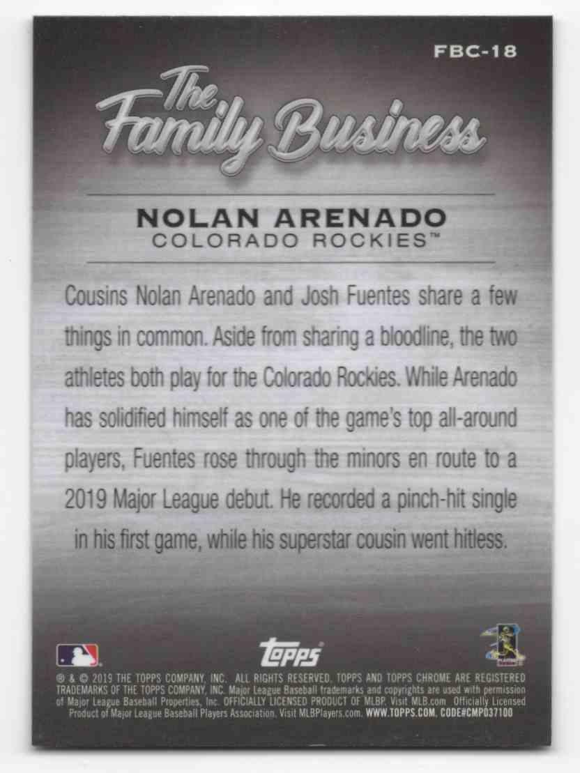 2019 Topps Chrome Update The Family Business Nolan Arenado #FBC18 card back image