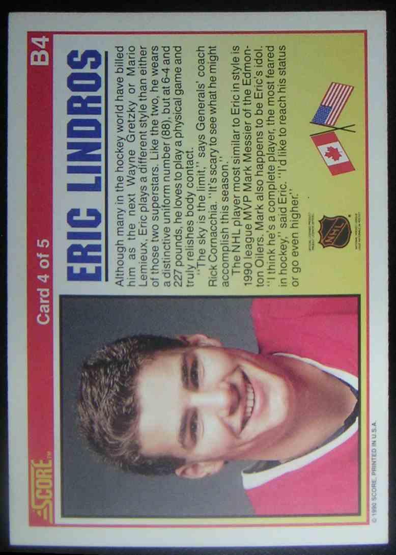 1990-91 Score Eric Lindros #B4 card back image