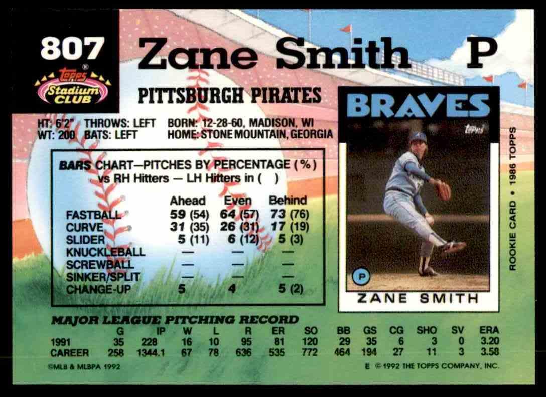 1992 Stadium Club Zane Smith #807 card back image