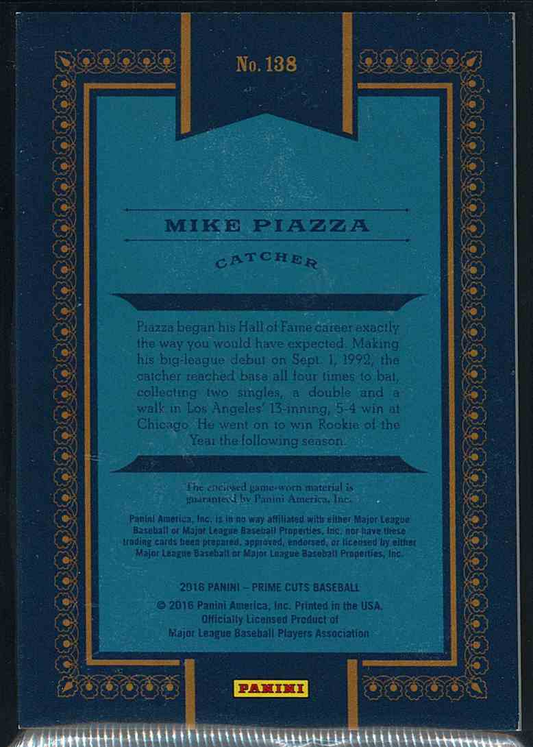 2016 Panini Prime Cuts Mike Piazza #138 card back image