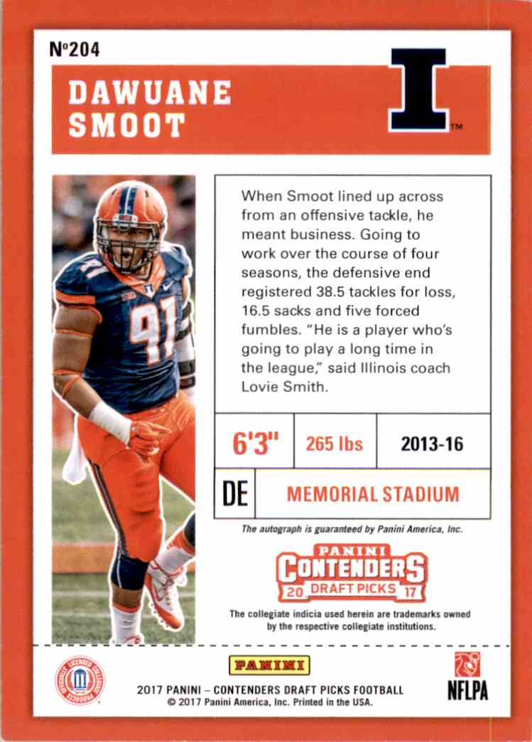 2017 Panini Contenders Draft Picks Dawuane Smoot #204 card back image