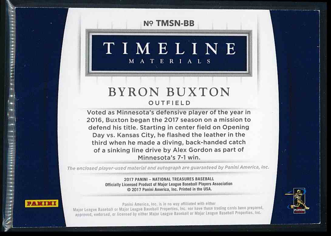 2017 Panini National Treasures Timeline Materials Byron Buxton #TMSN-BB card back image